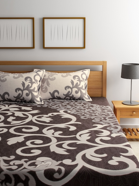ROMEE Brown Printed Polycotton Double Bed Cover with 2 Pillow Covers