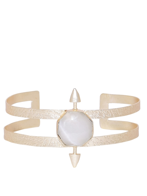 The Jewel Basket Women Gold-Plated & White Stone-Studded Cuff Bracelet