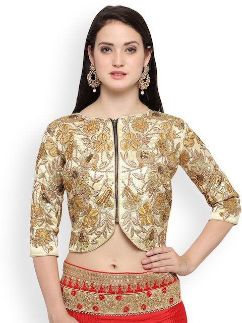 RIYA Green Embroidered Silk Saree Blouse