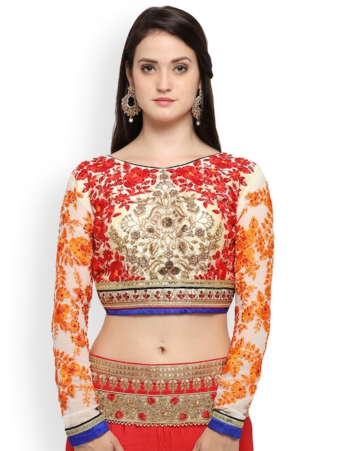 RIYA Cream Embroidered Silk Saree Blouse