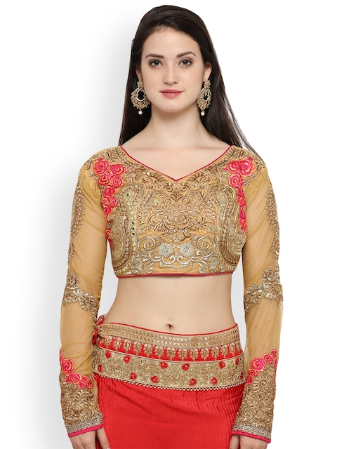 RIYA Beige Embroidered Silk Saree Blouse