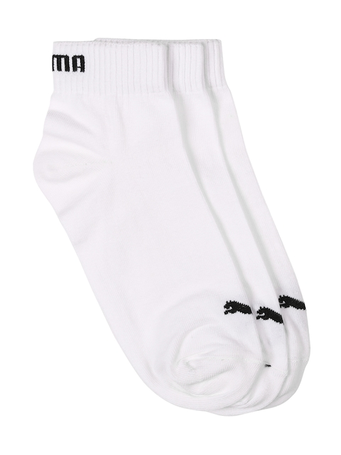 Puma Unisex Pack of 3 White Ankle-Length Socks