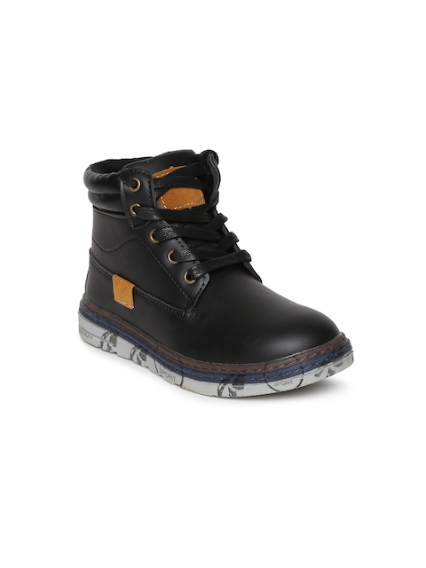 Kittens Boys Black Solid High-Top Flat Boots