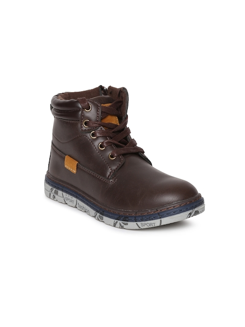 Kittens Boys Brown Solid High-Top Flat Boots
