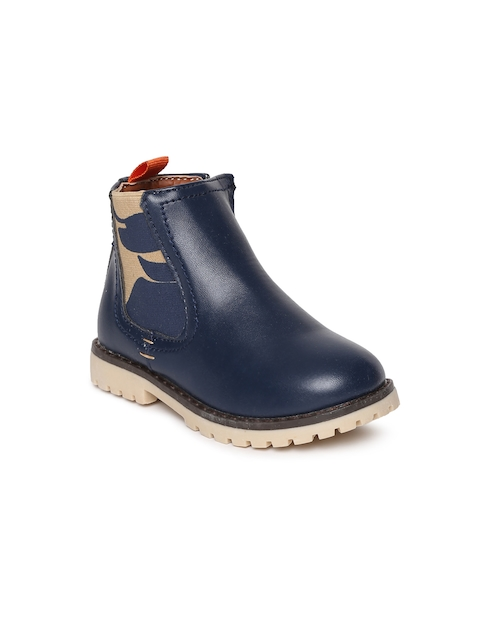 Kittens Boys Navy Blue Solid High-Top Flat Boots