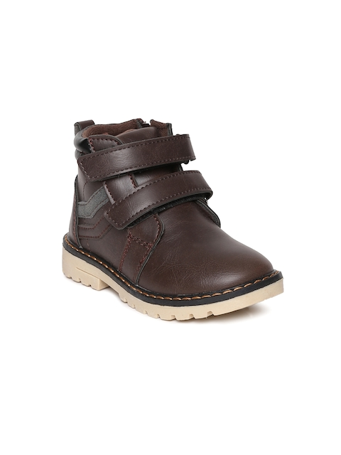 Kittens Boys Brown Solid Synthetic Leather High-Top Flat Boots
