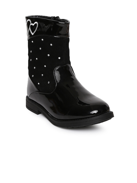 Kittens Girls Black Solid Synthetic Leather High-Top Flat Boots