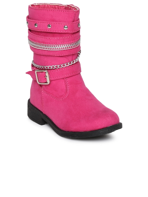 Kittens Girls Pink Solid Synthetic Leather High-Top Flat Boots