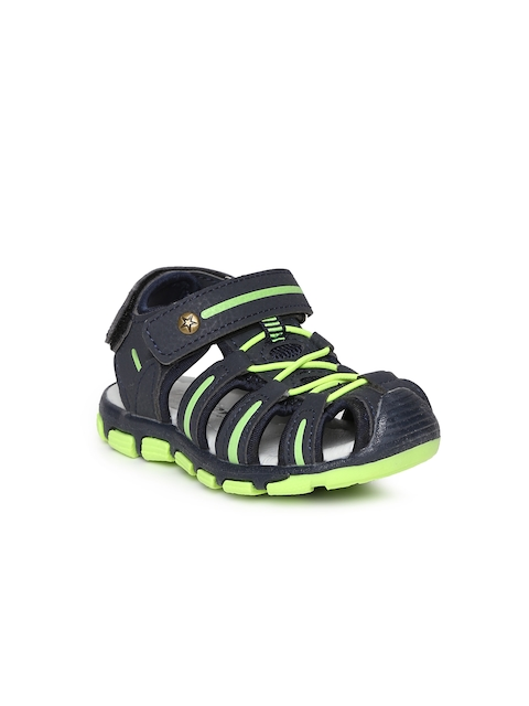 Kittens Boys Navy Blue & Lime Green Sandals