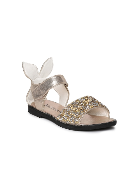 Kittens Girls Gold-Toned Comfort Sandals