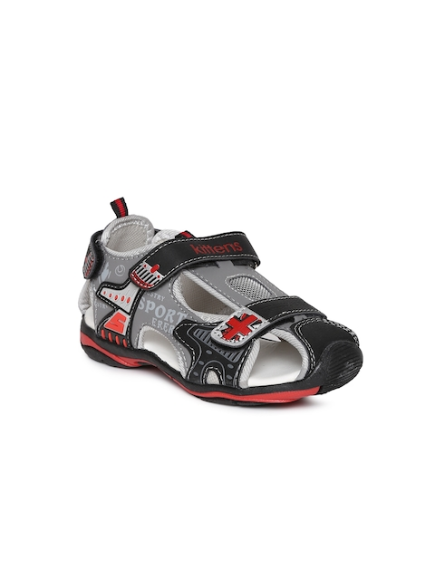 Kittens Boys Black & Grey Fisherman Sandals