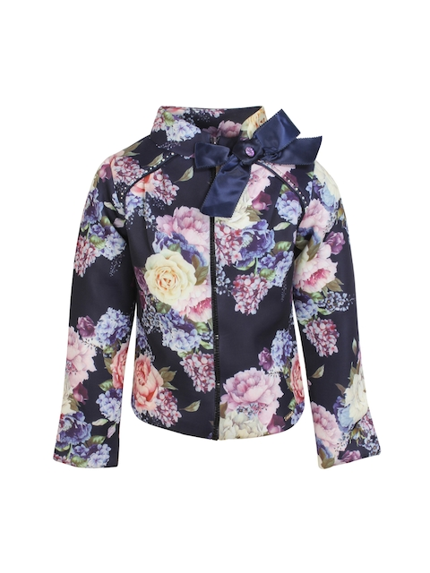 CUTECUMBER Girls Navy Blue Printed Puffer Jacket