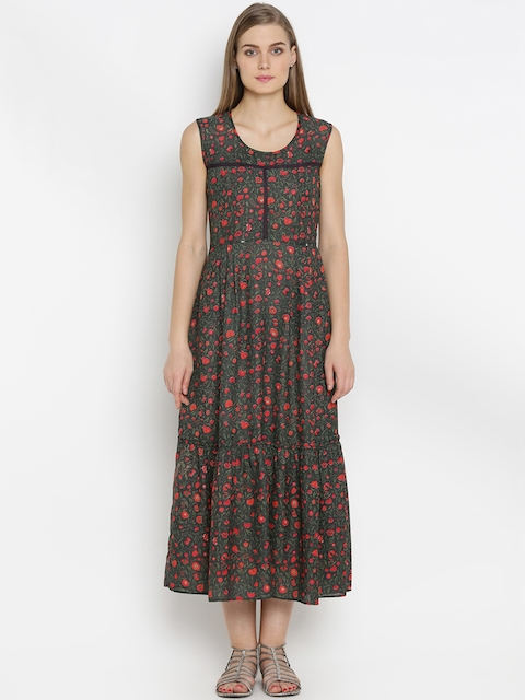 Mineral Women Green & Red Printed Maxi Dress  available at myntra for Rs.1599