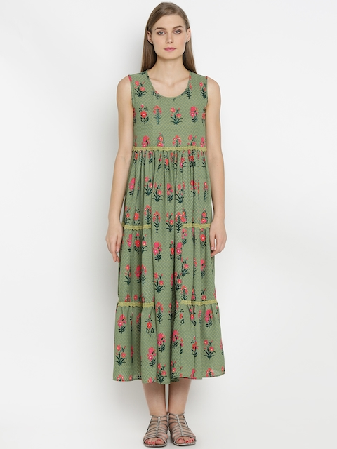 Mineral Women Green Printed Maxi Dress  available at myntra for Rs.1899