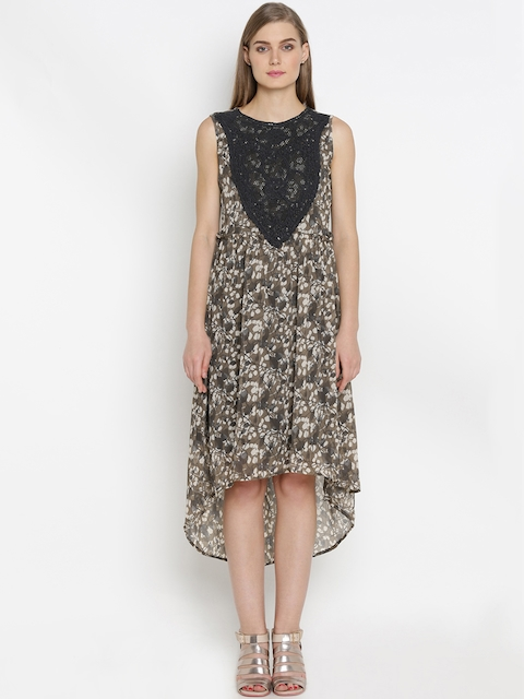 Mineral Women Grey Printed A-Line Dress  available at myntra for Rs.1999