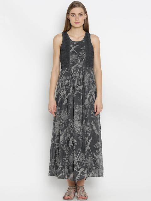 Mineral Women Grey Printed Maxi Dress  available at myntra for Rs.2299