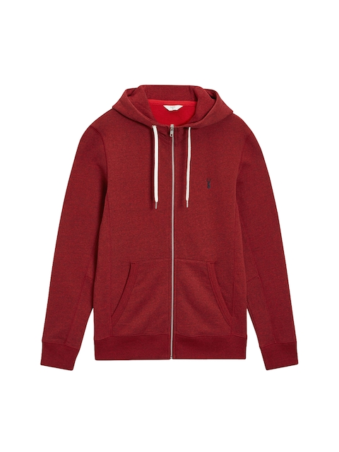 next Men Red Solid Hooded Sweatshirt
