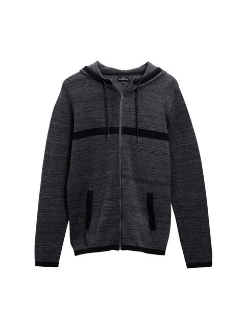 next Men Charcoal Grey Solid Hooded Sweatshirt