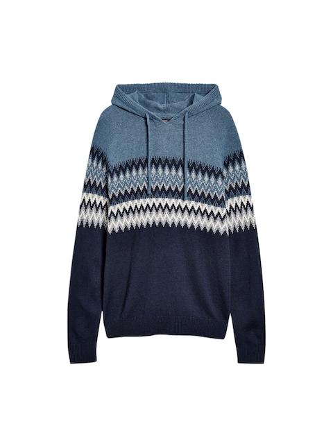 next Men Navy Blue Self-Design Hooded Sweatshirt
