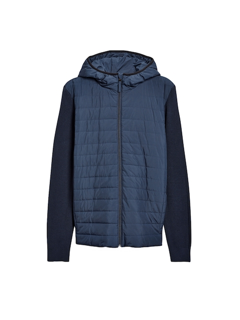 next Men Navy Blue Solid Quilted Jacket