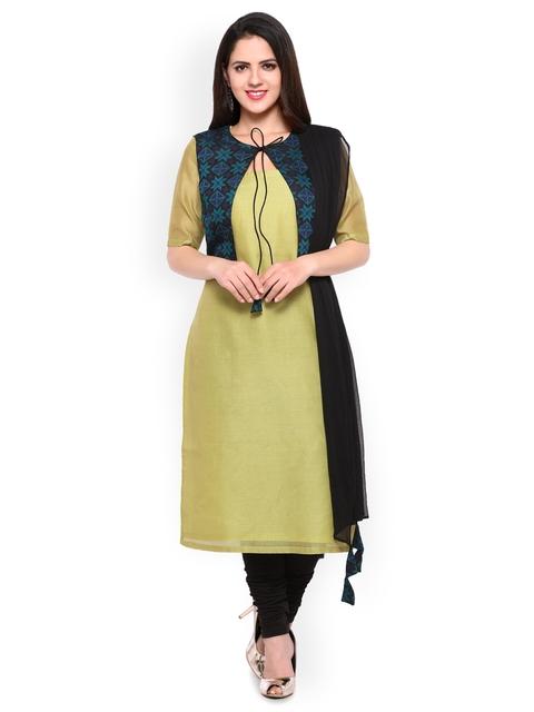 Inddus Green & Black Cotton Unstitched Dress Material