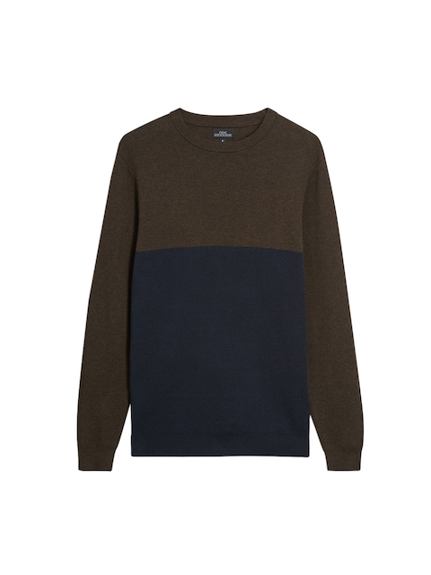 next Men Navy Blue & Brown Colourblocked Sweatshirt