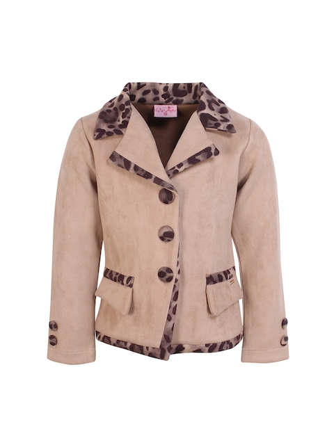 CUTECUMBER Girls Beige & Brown Printed Coat