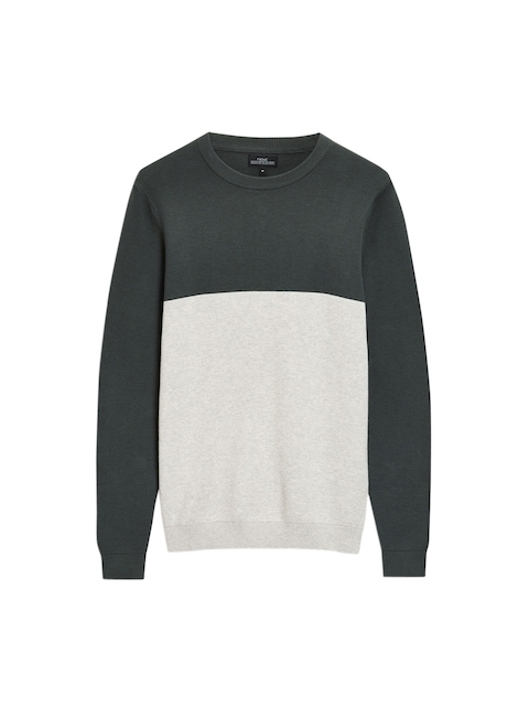 next Men Green & Grey Colourblocked Sweatshirt