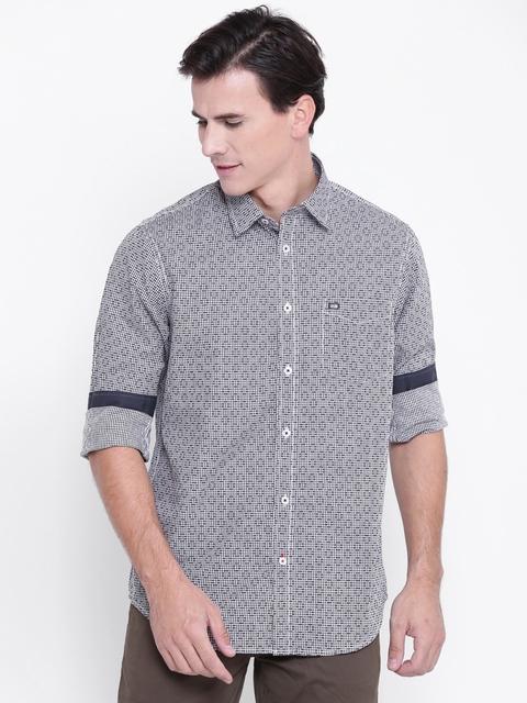 Arrow Sport Men Black & White Slim Fit Self-Design Casual Shirt