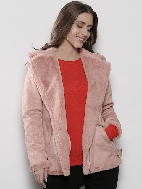 DOROTHY PERKINS Women Pink Solid Asymmetric Closure Jacket