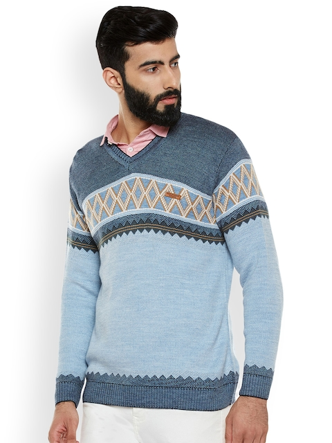 Duke Men Blue Printed Sweater