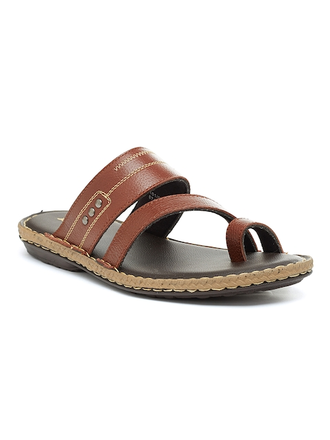 Bata Men Brown Leather Sandals