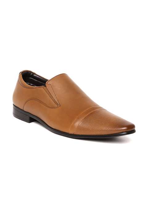 Bata Men Tan Brown Leather Formal Slip-Ons