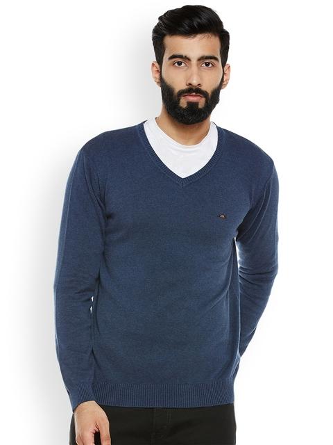 Duke Men Blue Solid Pullover