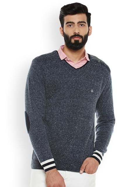 Duke Men Blue Solid Sweater