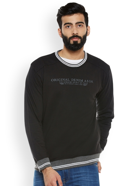 Duke Men Black & Grey Printed Sweatshirt