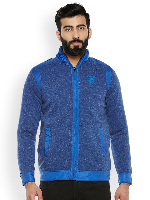 Duke Men Blue Self Design Sweatshirt