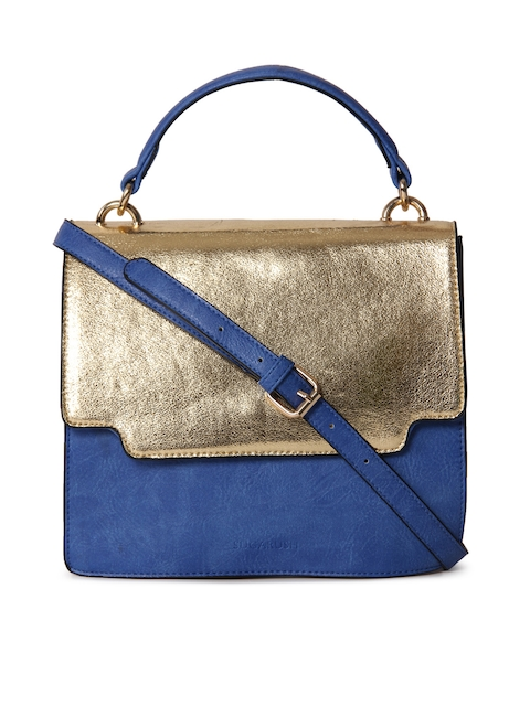 Sugarush Blue & Gold-Toned Colourblocked Satchel