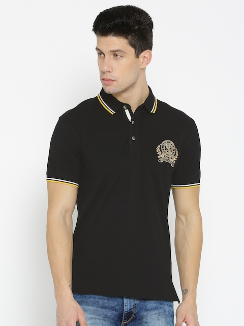 John Players Men Black Solid Polo Collar T-shirt