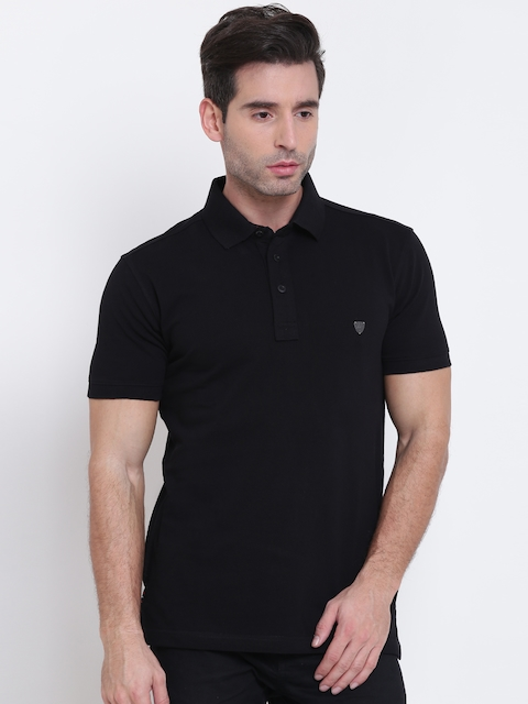 John Players Men Black Solid Slim Polo Collar T-shirt
