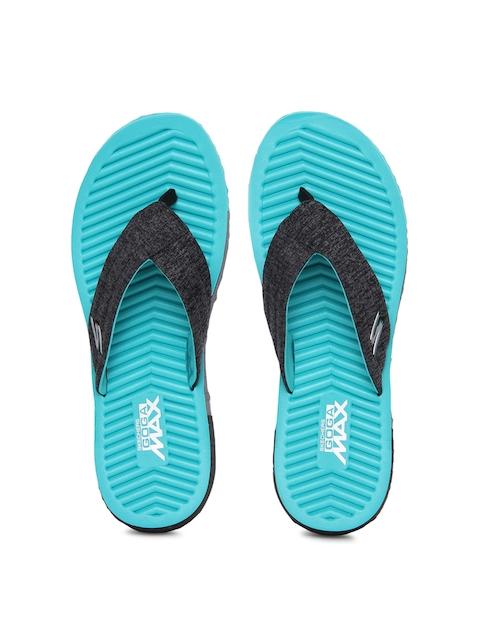 Skechers Women Black & Blue Solid Thong Flip-Flops