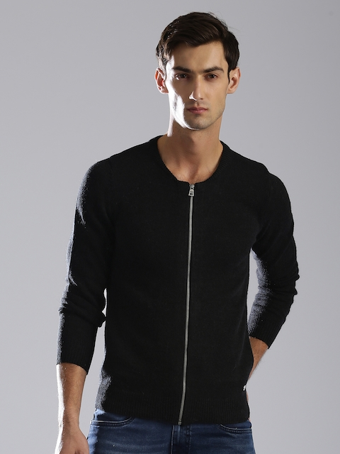 GAS Men Black Solid Front-Open Sweater