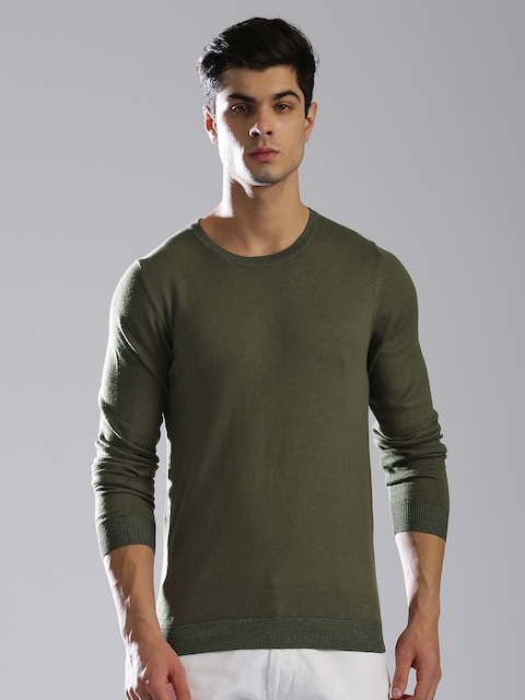 GAS Men Olive Green Solid Pullover