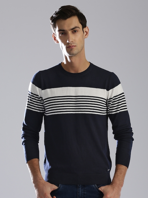 GAS Men Navy Blue & White Striped Pullover