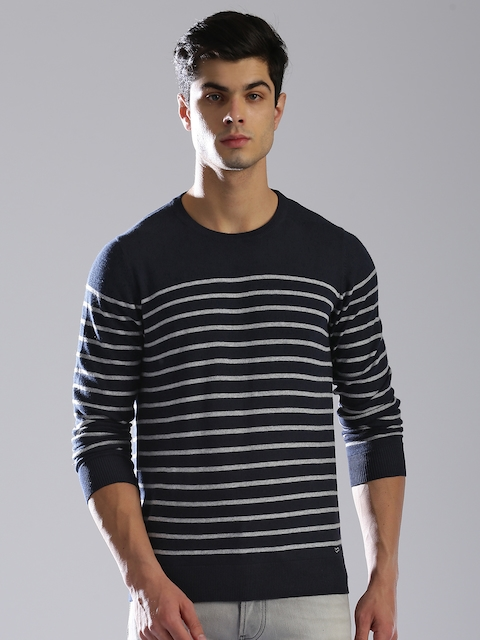 GAS Men Navy Blue & Grey Striped Pullover