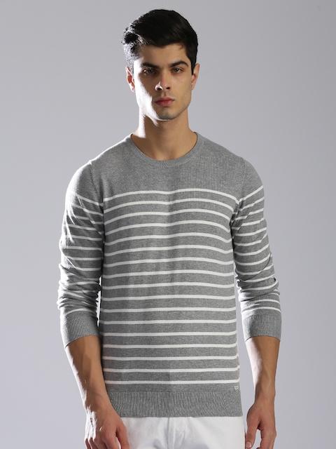 GAS Men Grey & White Striped Pullover