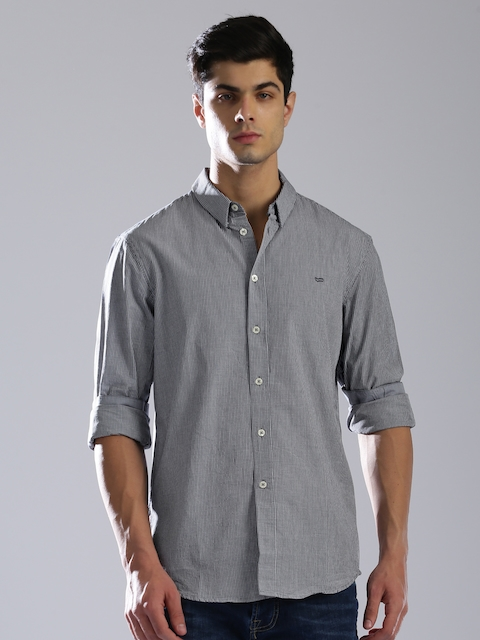 GAS Men Navy Blue Regular Fit Checked Casual Shirt  available at myntra for Rs.2744