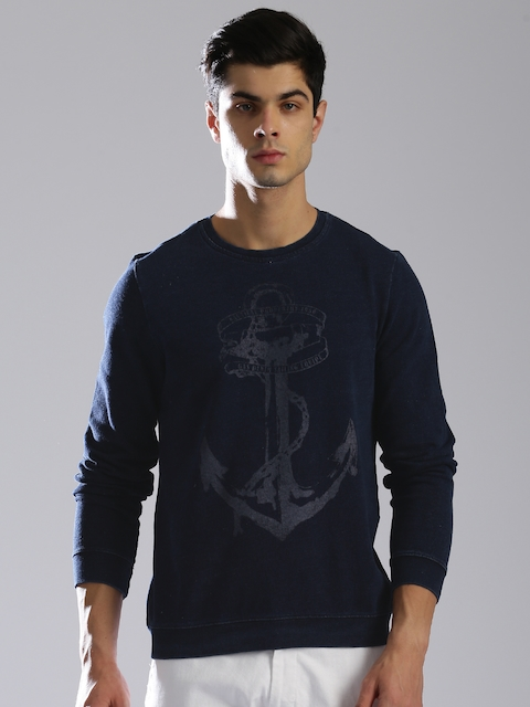 GAS Men Blue Antis Y Printed Sweatshirt
