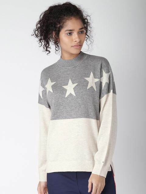 Tommy Hilfiger Women Grey Melange & Off-White Self Design Pullover