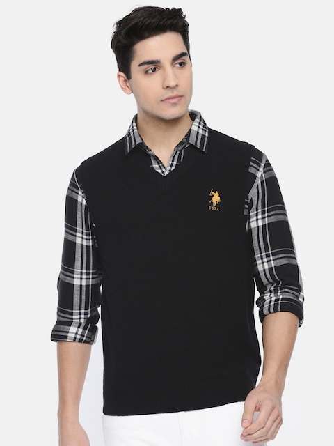 U.S. Polo Assn. Men Black Solid Sweater Vest